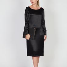 MenuchaB LBD Black Silk Midi Dress Front look
