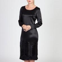 שמלת קפלים משי שחורה