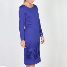 שמלת קפלים משי כחול רויאל