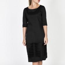 שמלת קפלים כותנה שחורה