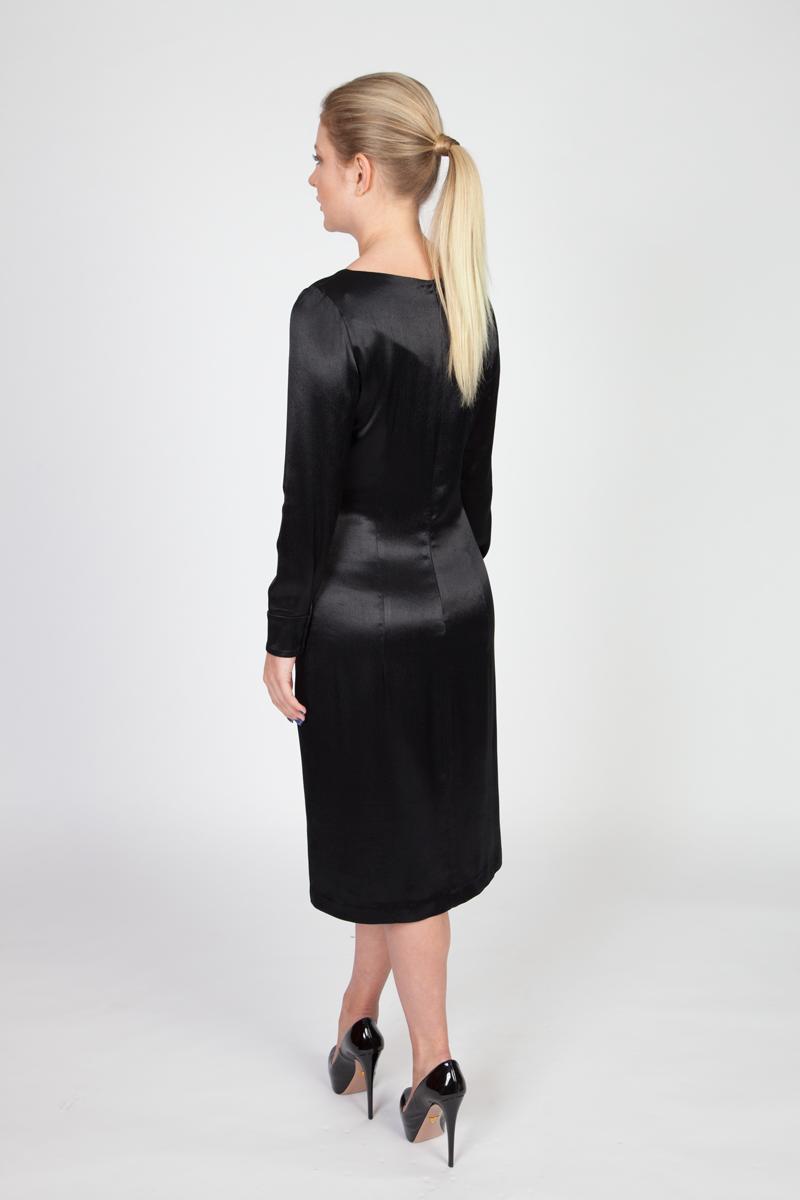 MenuchaB LBD Black Silk Midi Dress Back look