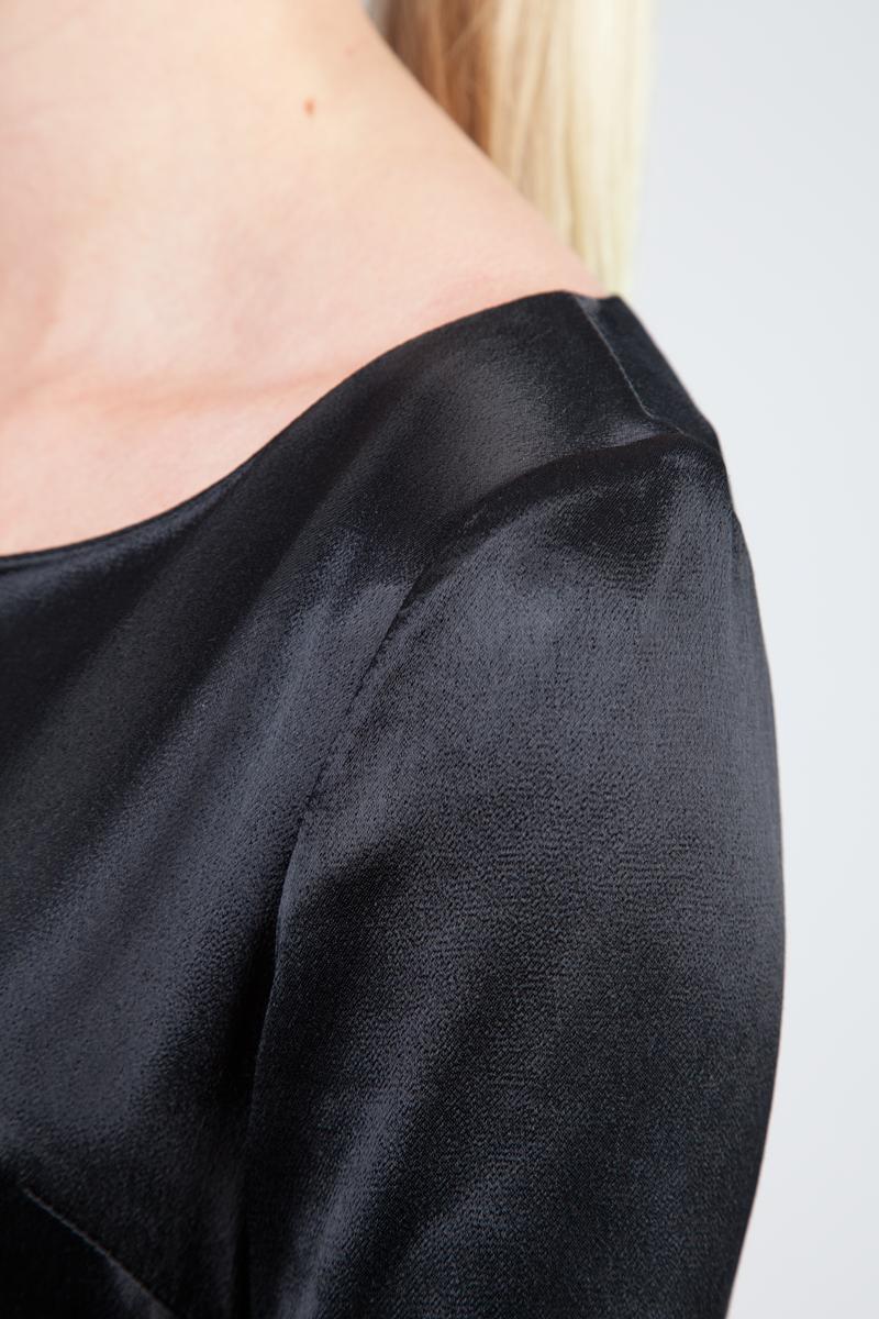 MenuchaB LBD Black Silk Midi Dress Detail